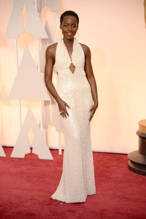 Lupita Nyong'o, in custom Calvin Klein Collection
